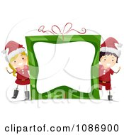 Clipart Christmas Boy And Girl Wacing Around A Gift Frame Royalty Free Vector Illustration