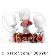 Clipart 3d Ivory Kids Opening Christmas Gifts Royalty Free CGI Illustration