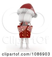 Clipart 3d Ivory Kid Wearing A Santa Hat And Holding A Christmas Gift Royalty Free CGI Illustration