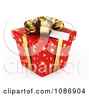 3d Red Gift Box With Gold Christmas Tree Patterns And A Bow