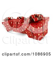 Clipart 3d Red Gift Boxes With Gold Christmas Tree Patterns And Bows Royalty Free CGI Illustration by BNP Design Studio
