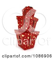 Clipart 3d Stacked Red Gift Boxes With Gold Christmas Tree Patterns And Bows Royalty Free CGI Illustration by BNP Design Studio