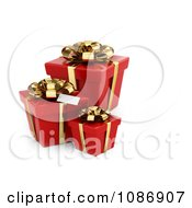 Clipart 3d Red Gift Boxes With Golden Bows And Ribbons Royalty Free CGI Illustration by BNP Design Studio