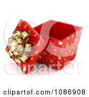Clipart 3d Open Red Gift Box With Gold Christmas Tree Patterns And A Bow Royalty Free CGI Illustration by BNP Design Studio