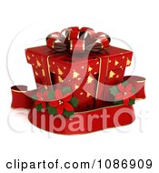 Clipart 3d Red Gift Box With Gold Christmas Tree Patterns And A Poinsettia Ribbon Royalty Free CGI Illustration by BNP Design Studio