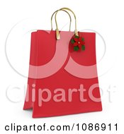 Clipart 3d Red Christmas Gift Or Shopping Bag With A Poinsettia Royalty Free CGI Illustration by BNP Design Studio