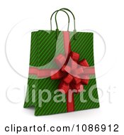 3d Green Stripe Christmas Gift Or Shopping Bag With A Red Bow