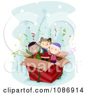 Clipart Kids Popping Out Of A Surprise Christmas Box Royalty Free Vector Illustration