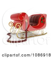 Clipart 3d Red Christmas Sleigh With A Poinsettia Flower Royalty Free CGI Illustration by BNP Design Studio