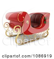 Clipart 3d Red Christmas Sleigh With Gold Trim Royalty Free CGI Illustration by BNP Design Studio