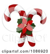 Clipart 3d Poinsettia And Crossed Candy Canes Royalty Free CGI Illustration by BNP Design Studio