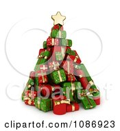 Clipart 3d Christmas Tree Of Red And Green Gifts Royalty Free CGI Illustration