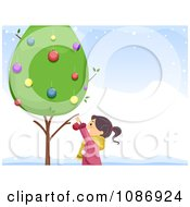 Clipart Girl Decorating A Live Tree In The Snow Royalty Free Vector Illustration