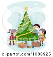 Clipart Kids Trimming A Christmas Tree Together Royalty Free Vector Illustration