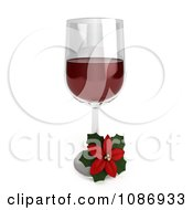 Clipart 3d Poinsettia Flower And Glass Of Red Wine Royalty Free CGI Illustration by BNP Design Studio