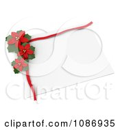 Clipart 3d White Gift Tag With Red Poinsettias Royalty Free CGI Illustration by BNP Design Studio