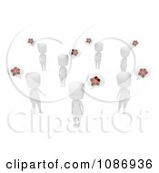 Clipart 3d Ivory People Talking About Christmas Royalty Free CGI Illustration