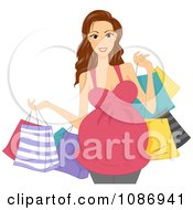 Clipart Brunette Pregnant Woman Carrying Colorful Shopping Bags Royalty Free Vector Illustration
