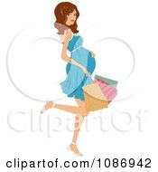 Clipart Pregnant Woman Kicking Back A Leg And Carrying Colorful Shopping Bags Royalty Free Vector Illustration