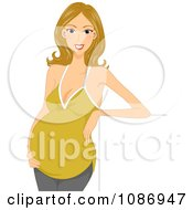 Clipart Dirty Blond Pregnant Woman Leaning On A Sign Royalty Free Vector Illustration