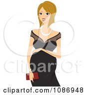 Clipart Pregnant Woman Resting Her Hand On Her Baby Bump And Wearing A Formal Black Dress Royalty Free Vector Illustration