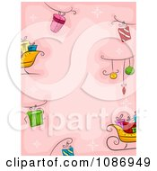 Clipart Christmas Background Of Gifts Baubles And Sleighs On Pink Royalty Free Vector Illustration