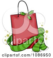 Clipart Red Christmas Holly Shopping Bag And Green Scarf Royalty Free Vector Illustration by BNP Design Studio