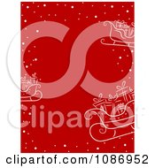 Clipart Red Christmas Background With Sketched White Snow Gifts And Santas Sleigh Royalty Free Vector Illustration by BNP Design Studio