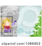 Clipart Girl Waving From A Tower Window In A Winter Landscape Royalty Free Vector Illustration