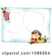 Clipart Christmas Girl And Stocking On A Christmas Snow Frame Royalty Free Vector Illustration by BNP Design Studio