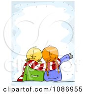 Clipart Two Winter Girls Gazing At The Snow Border Royalty Free Vector Illustration