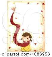 Clipart Border Of A Bird Flying Away With A Girls Scarf In The Autumn Royalty Free Vector Illustration
