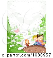 Clipart Kids Playing In A Winter Landscape Near A House Royalty Free Vector Illustration