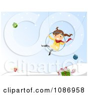 Clipart Girl Swinging Over A Winter Landscape With Baubles And Gifts Royalty Free Vector Illustration by BNP Design Studio