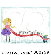 Clipart Penguin Feeling A Girls Scarf With A Merry Christmas Greeting And Snow Royalty Free Vector Illustration by BNP Design Studio
