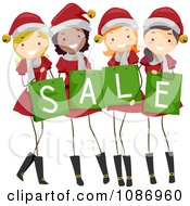 Clipart Christmas Girls In Santa Suits Holding Sale Shopping Bags Royalty Free Vector Illustration by BNP Design Studio