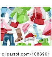 Clipart Seamless Background Of Christmas Clothing Royalty Free Vector Illustration