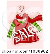 Clipart SALE Over A Red And Green Shirt And Scarf On A Hanger Royalty Free Vector Illustration