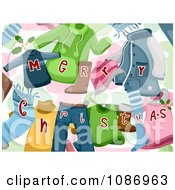Clipart Background Of Merry Christmas Clothes Royalty Free Vector Illustration by BNP Design Studio