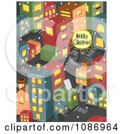 Clipart Merry Christmas Sign In An Urban City Royalty Free Vector Illustration