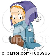 Clipart Toddler Sitting In Winter Clothes And Looking Back Royalty Free Vector Illustration