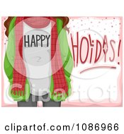 Clipart Happy Holidays Girl With A Scarf And Jacket Over Pink Royalty Free Vector Illustration