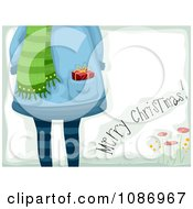 Clipart Merry Christmas Greeting And A Girl With A Gift In Her Pocket Royalty Free Vector Illustration