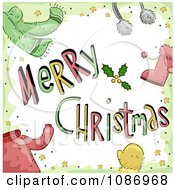 Clipart Merry Christmas Greeting With Winter Accessories And Clothes Royalty Free Vector Illustration by BNP Design Studio