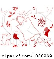 Clipart Seamless Red And White Christmas Shopping Background Royalty Free Vector Illustration by BNP Design Studio