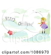 Clipart Girl Shouting Merry Christmas To A House Royalty Free Vector Illustration