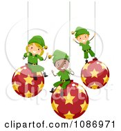 Clipart Happy Christmas Elves Sitting On Suspended Ornaments Royalty Free Vector Illustration