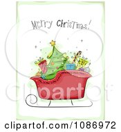 Clipart Santas Sleigh With A Merry Christmas Greeting And A Green Border Royalty Free Vector Illustration by BNP Design Studio