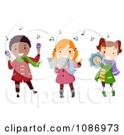 Clipart Kids Playing Instruments And Singing Christmas Carols Royalty Free Vector Illustration