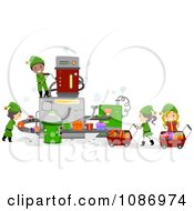 Clipart Kid Elves Working In Santas Toy Factory Royalty Free Vector Illustration